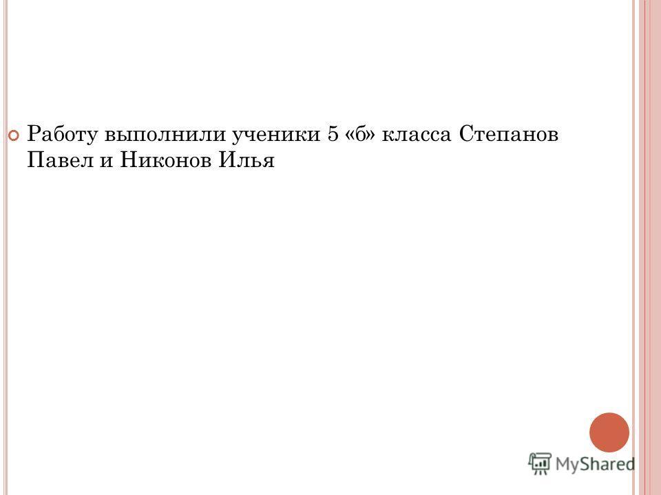 Работу выполнили ученики 5 «б» класса Степанов Павел и Никонов Илья