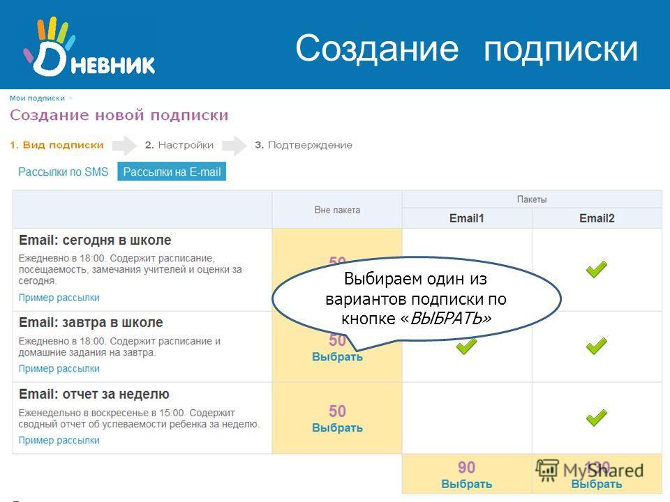 школьная образовательная сеть www.dnevnik.ru Вы можете подписаться на любой из пяти вариантов рассылки как по SMS, так и по электронной почте Внимание! Стоимость указана в баллах «Дневник.ру» !!! Выбираем один из вариантов подписки по кнопке «ВЫБРАТЬ
