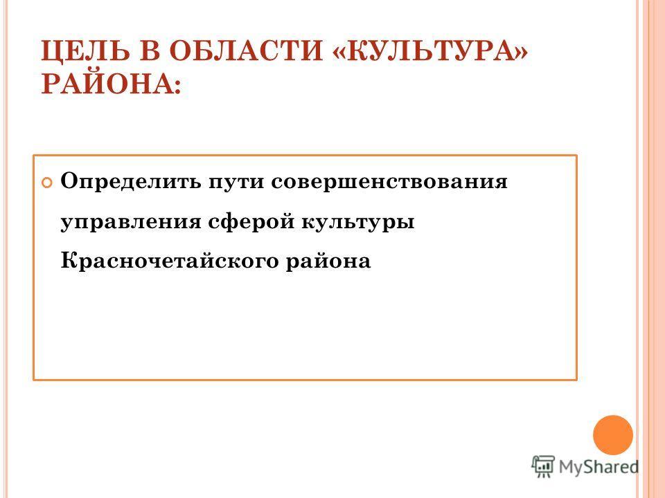 ЦЕЛЬ В ОБЛАСТИ «КУЛЬТУРА» РАЙОНА: Определить пути совершенствования управления сферой культуры Красночетайского района