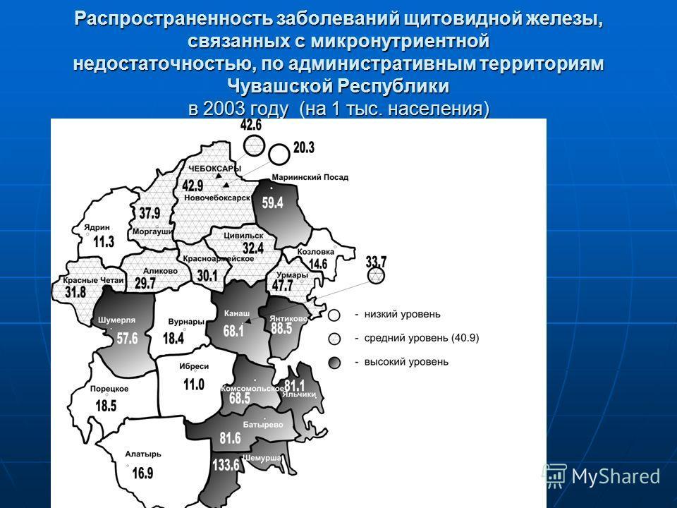 Распространенность заболеваний щитовидной железы, связанных с микронутриентной недостаточностью, по административным территориям Чувашской Республики в 2003 году (на 1 тыс. населения)