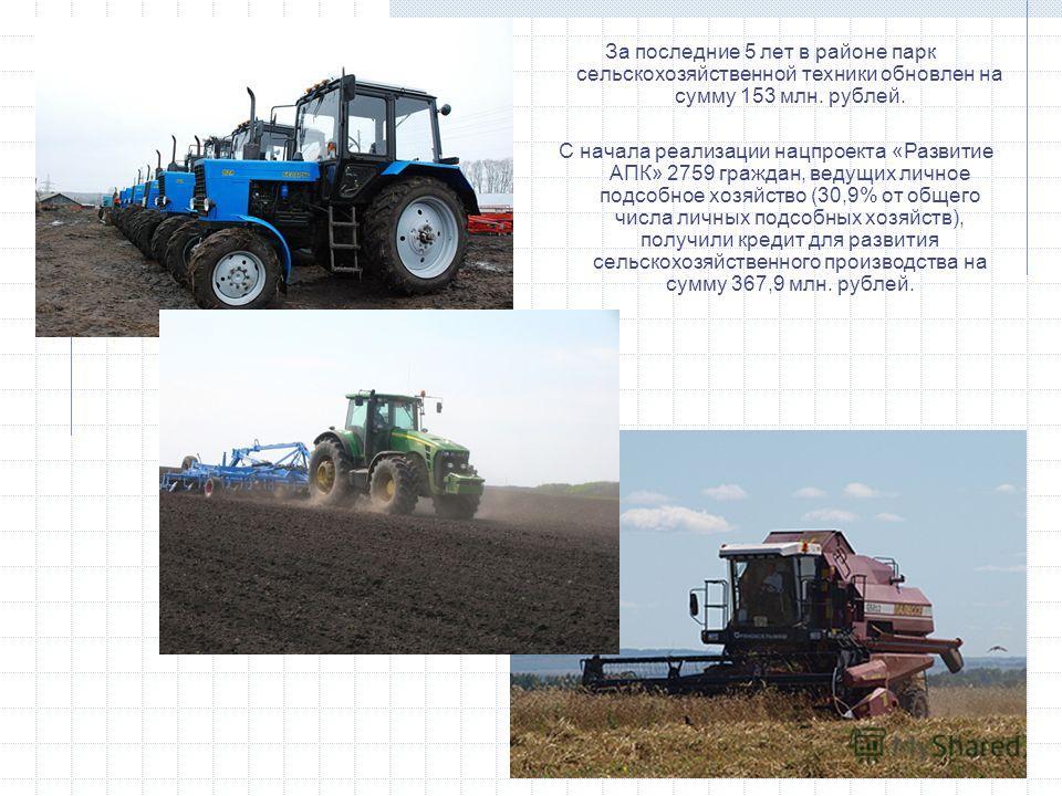 За последние 5 лет в районе парк сельскохозяйственной техники обновлен на сумму 153 млн. рублей. С начала реализации нацпроекта «Развитие АПК» 2759 граждан, ведущих личное подсобное хозяйство (30,9% от общего числа личных подсобных хозяйств), получил