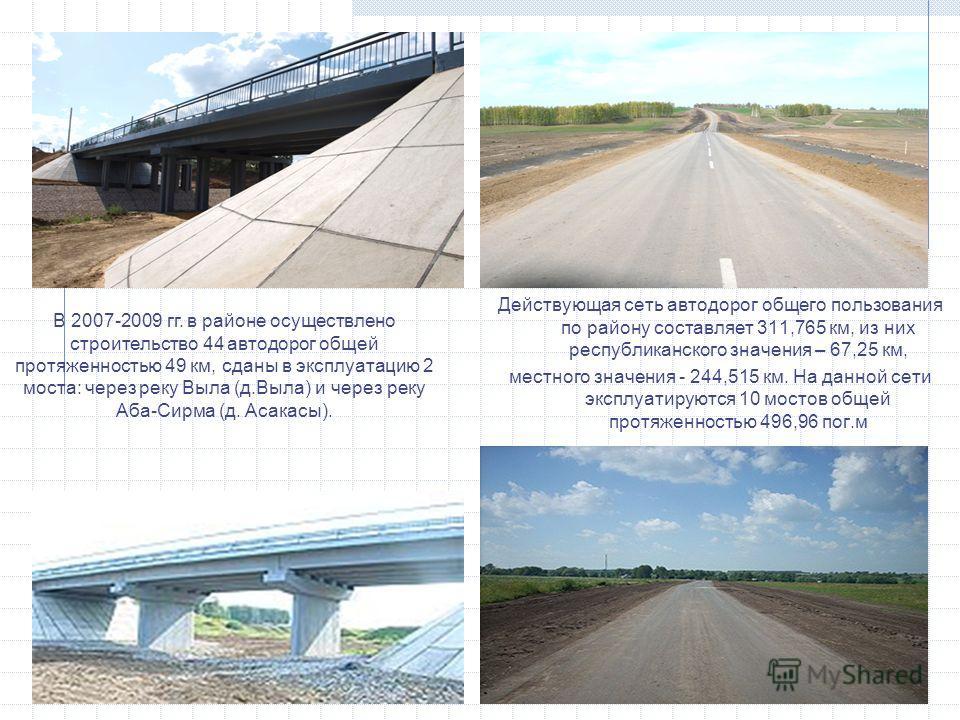 Действующая сеть автодорог общего пользования по району составляет 311,765 км, из них республиканского значения – 67,25 км, местного значения - 244,515 км. На данной сети эксплуатируются 10 мостов общей протяженностью 496,96 пог.м В 2007-2009 гг. в р