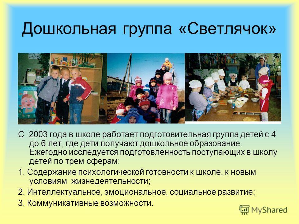Дошкольная группа «Светлячок» С 2003 года в школе работает подготовительная группа детей с 4 до 6 лет, где дети получают дошкольное образование. Ежегодно исследуется подготовленность поступающих в школу детей по трем сферам: 1. Содержание психологиче