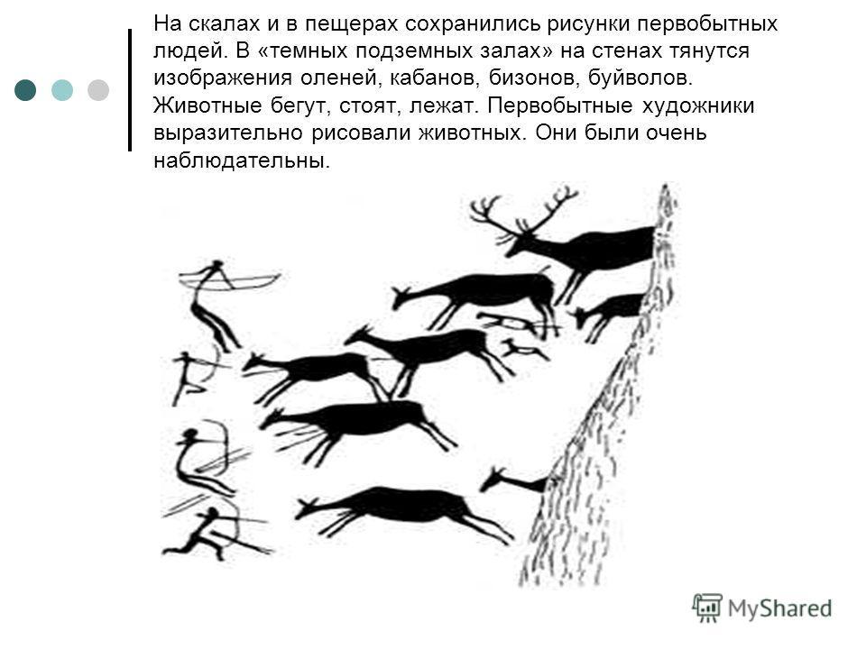 На скалах и в пещерах сохранились рисунки первобытных людей. В «темных подземных залах» на стенах тянутся изображения оленей, кабанов, бизонов, буйволов. Животные бегут, стоят, лежат. Первобытные художники выразительно рисовали животных. Они были оче