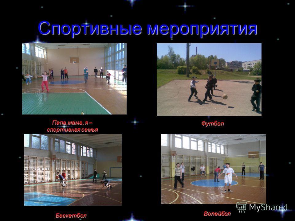 Спортивные мероприятия Папа,мама, я – спортивная семья Волейбол Футбол Баскетбол