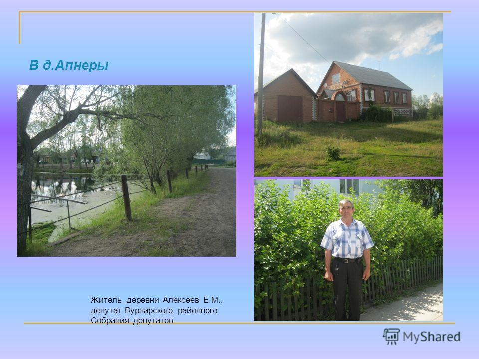 В д.Апнеры Житель деревни Алексеев Е.М., депутат Вурнарского районного Собрания депутатов
