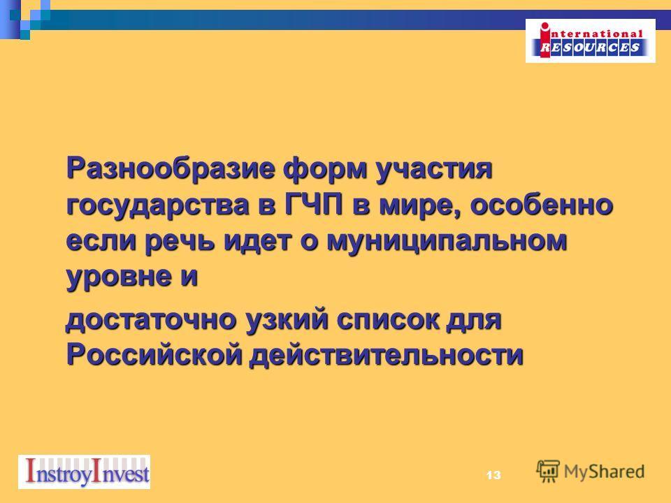 13 Разнообразие форм участия государства в ГЧП в мире, особенно если речь идет о муниципальном уровне и достаточно узкий список для Российской действительности