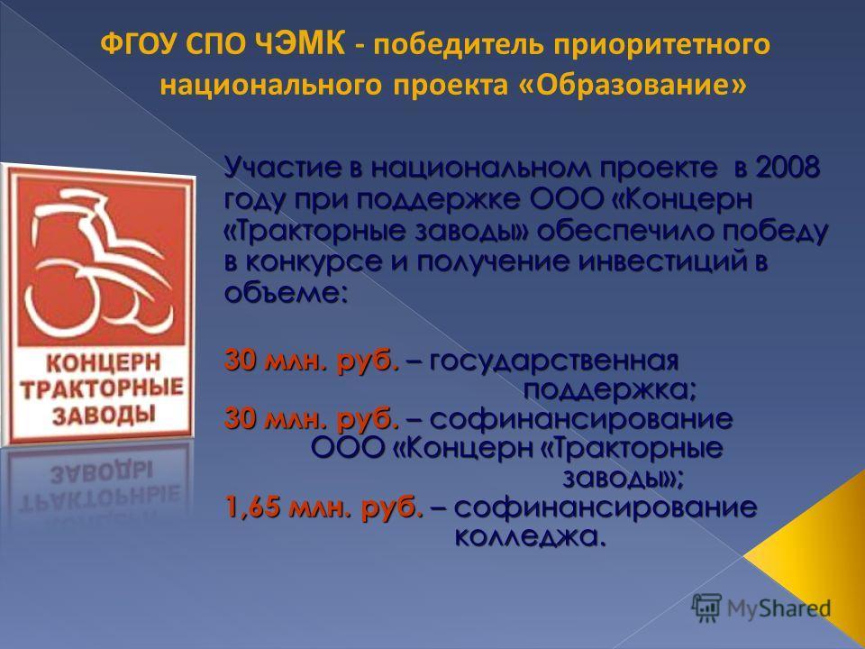 Участие в национальном проекте в 2008 году при поддержке ООО «Концерн «Тракторные заводы» обеспечило победу в конкурсе и получение инвестиций в объеме: 30 млн. руб. – государственная поддержка; поддержка; 30 млн. руб. – софинансирование ООО «Концерн