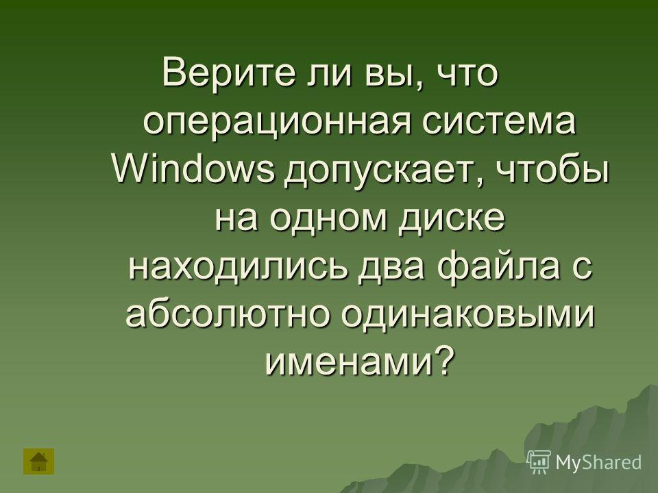 Верите ли вы, что операционная система Windows допускает, чтобы на одном диске находились два файла с абсолютно одинаковыми именами?