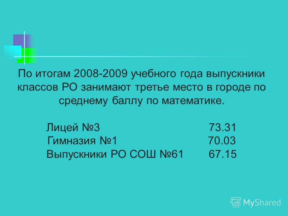 По итогам 2008-2009 учебного года выпускники классов РО занимают третье место в городе по среднему баллу по математике. Лицей 3 73.31 Гимназия 1 70.03 Выпускники РО СОШ 61 67.15