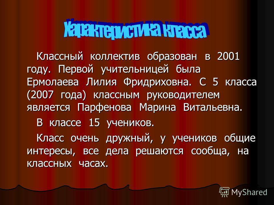 Классный коллектив образован в 2001 году. Первой учительницей была Ермолаева Лилия Фридриховна. С 5 класса (2007 года) классным руководителем является Парфенова Марина Витальевна. Классный коллектив образован в 2001 году. Первой учительницей была Ерм