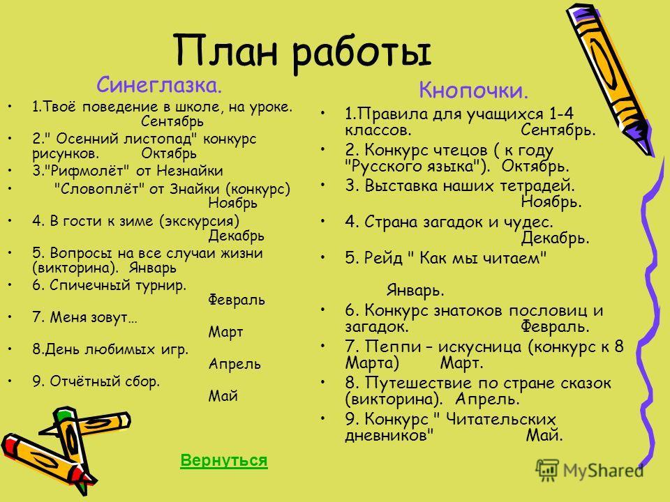 План работы Синеглазка. 1.Твоё поведение в школе, на уроке. Сентябрь 2.