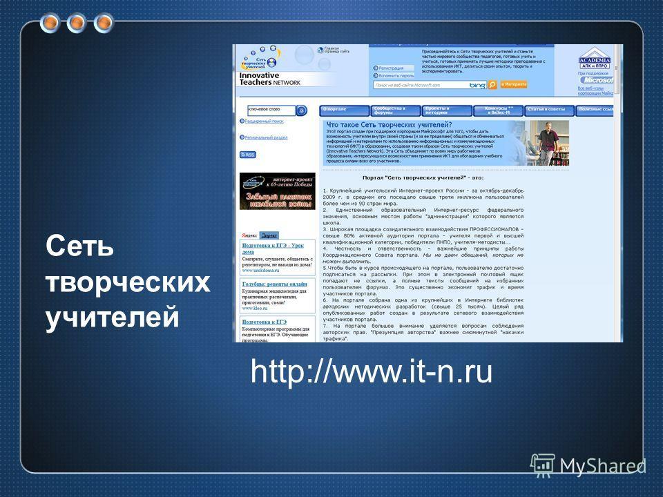 Сеть творческих учителей http://www.it-n.ru