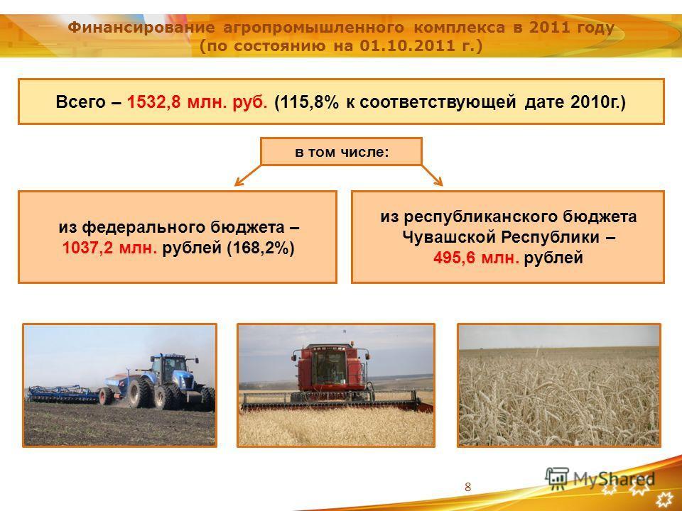 8 в том числе: из республиканского бюджета Чувашской Республики – 495,6 млн. рублей Финансирование агропромышленного комплекса в 2011 году (по состоянию на 01.10.2011 г.) Всего – 1532,8 млн. руб. (115,8% к соответствующей дате 2010г.) из федерального