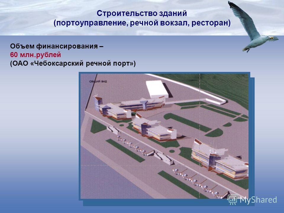Строительство зданий (портоуправление, речной вокзал, ресторан) Объем финансирования – 60 млн.рублей (ОАО «Чебоксарский речной порт»)