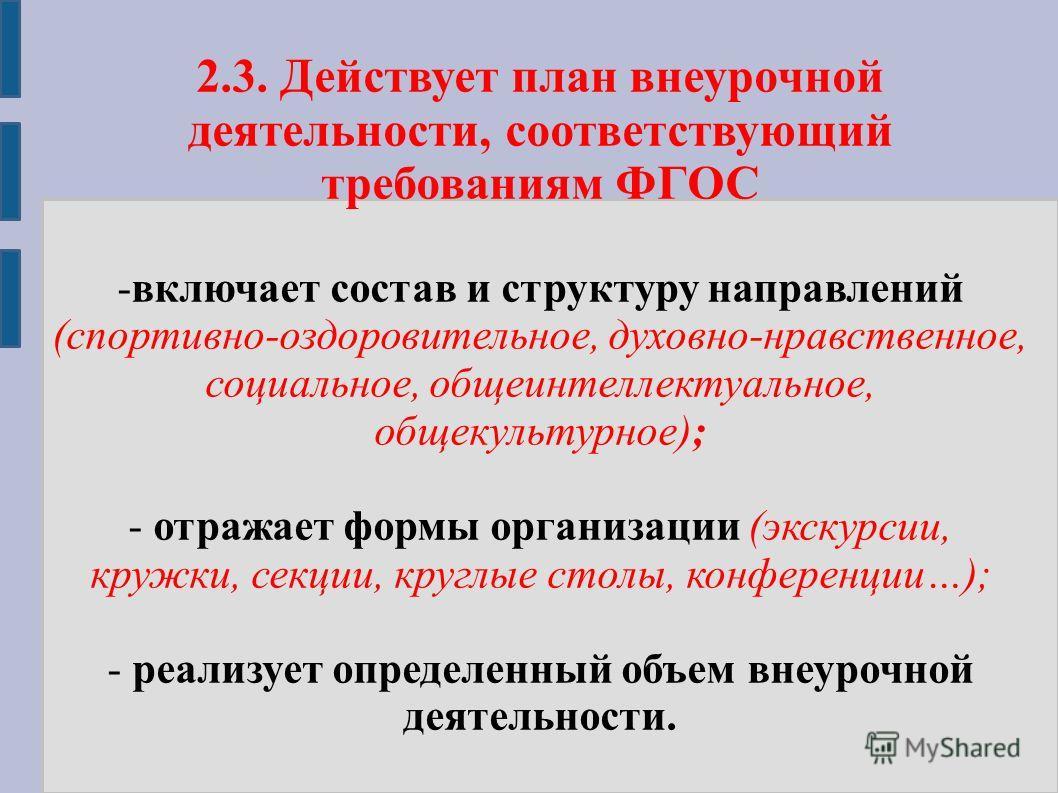 2.3. Действует план внеурочной деятельности, соответствующий требованиям ФГОС -включает состав и структуру направлений (спортивно-оздоровительное, духовно-нравственное, социальное, общеинтеллектуальное, общекультурное); - отражает формы организации (