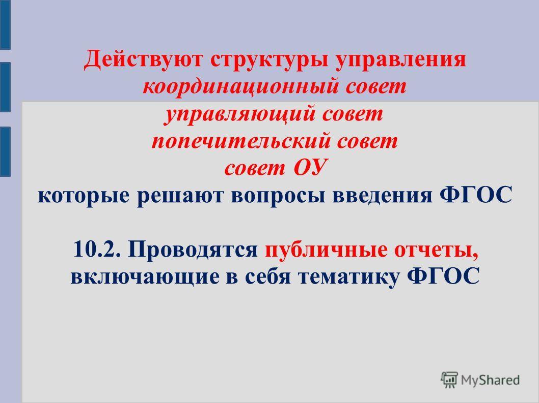 Действуют структуры управления координационный совет управляющий совет попечительский совет совет ОУ которые решают вопросы введения ФГОС 10.2. Проводятся публичные отчеты, включающие в себя тематику ФГОС