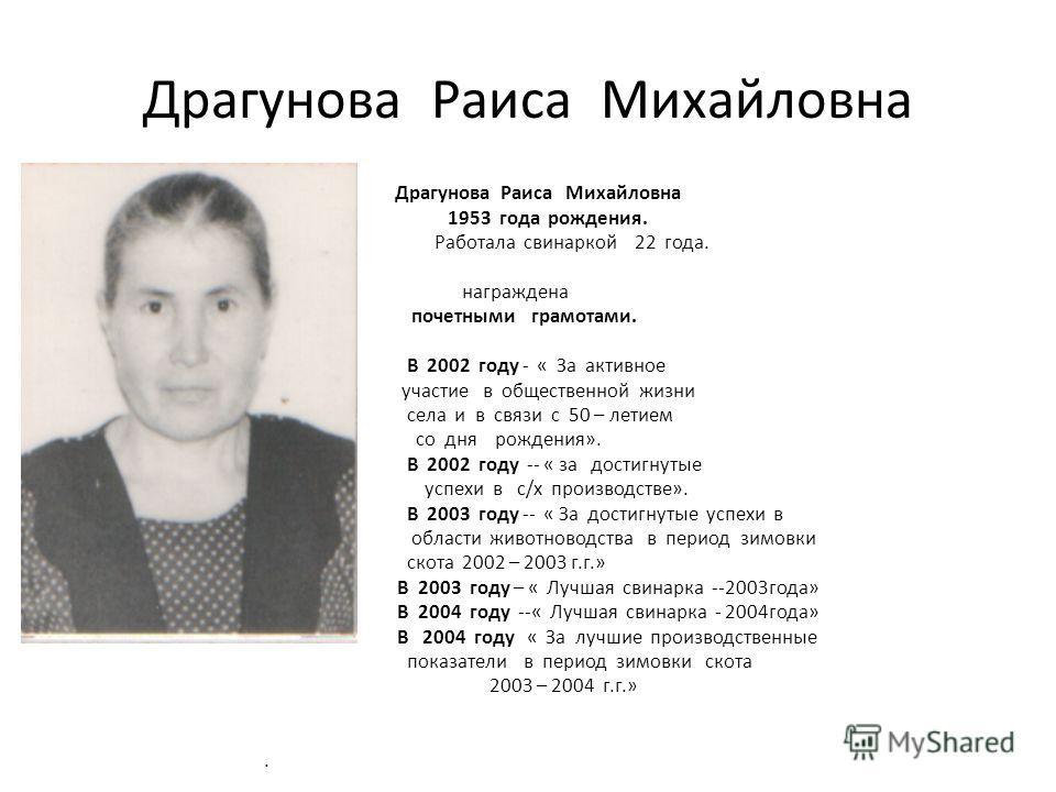 Драгунова Раиса Михайловна 1953 года рождения. Работала свинаркой 22 года. награждена почетными грамотами. В 2002 году - « За активное участие в общественной жизни села и в связи с 50 – летием со дня рождения». В 2002 году -- « за достигнутые успехи