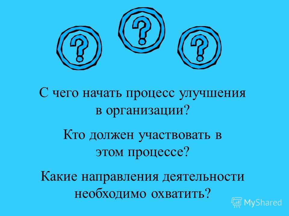 С чего начать процесс улучшения в организации? Кто должен участвовать в этом процессе? Какие направления деятельности необходимо охватить?