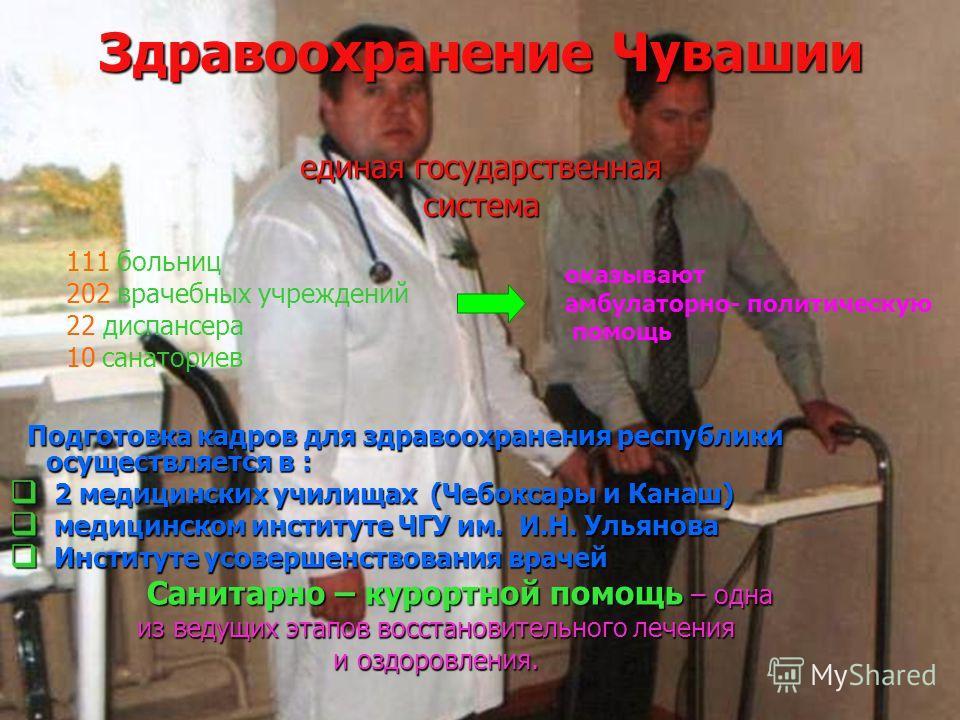 Здравоохранение Чувашии единая государственная система Подготовка кадров для здравоохранения республики осуществляется в : Подготовка кадров для здравоохранения республики осуществляется в : 2 медицинских училищах (Чебоксары и Канаш) 2 медицинских уч