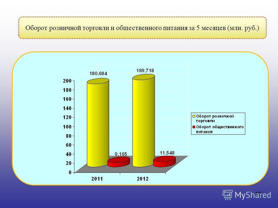 12 Оборот розничной торговли и общественного питания за 5 месяцев (млн. руб.)
