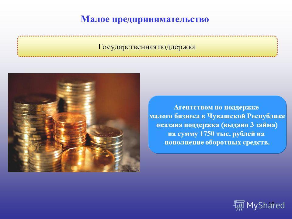 15 Государственная поддержка Малое предпринимательство Агентством по поддержке малого бизнеса в Чувашской Республике оказана поддержка (выдано 3 займа) на сумму 1750 тыс. рублей на пополнение оборотных средств.