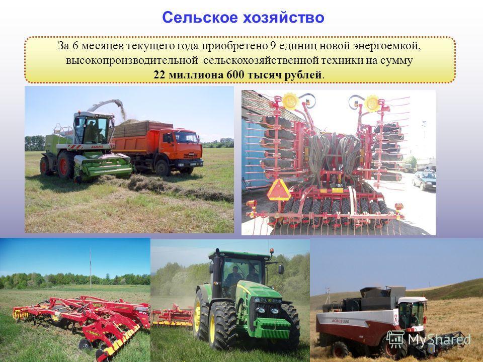 5 Сельское хозяйство За 6 месяцев текущего года приобретено 9 единиц новой энергоемкой, высокопроизводительной сельскохозяйственной техники на сумму 22 миллиона 600 тысяч рублей.