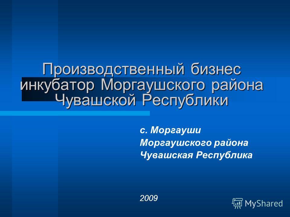 Производственный бизнес инкубатор Моргаушского района Чувашской Республики с. Моргауши Моргаушского района Чувашская Республика 2009