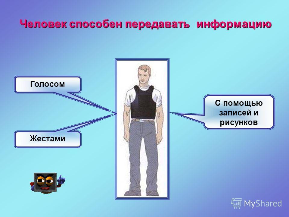 Голосом Жестами С помощью записей и рисунков Человек способен передавать информацию