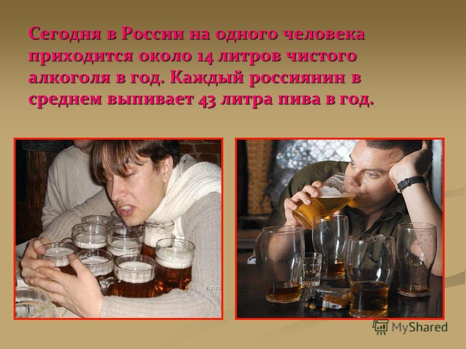 Сегодня в России на одного человека приходится около 14 литров чистого алкоголя в год. Каждый россиянин в среднем выпивает 43 литра пива в год.