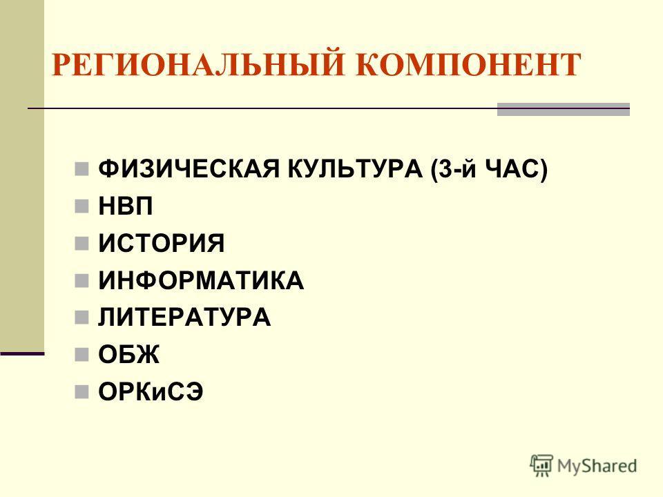 РЕГИОНАЛЬНЫЙ КОМПОНЕНТ ФИЗИЧЕСКАЯ КУЛЬТУРА (3-й ЧАС) НВП ИСТОРИЯ ИНФОРМАТИКА ЛИТЕРАТУРА ОБЖ ОРКиСЭ