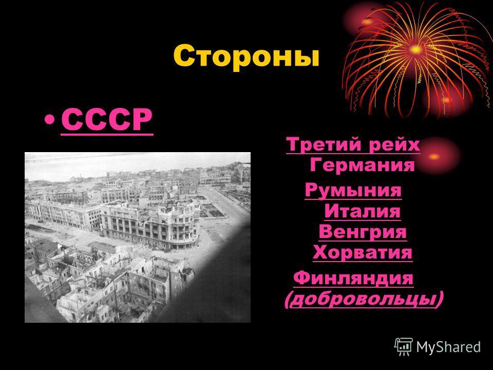 Стороны СССР Третий рейх Третий рейх Германия Румыния Италия Венгрия Хорватия Финляндия Финляндия (добровольцы)добровольцы
