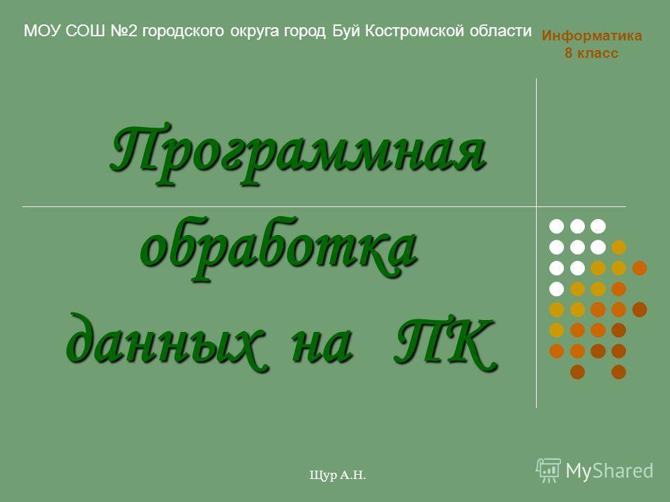 Программная обработка данных на ПК Программная обработка данных на ПК Информатика 8 класс Щур А.Н. МОУ СОШ 2 городского округа город Буй Костромской области