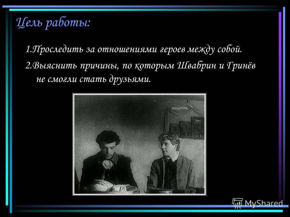 Цель работы: 1.Проследить за отношениями героев между собой. 2.Выяснить причины, по которым Швабрин и Гринёв не смогли стать друзьями.