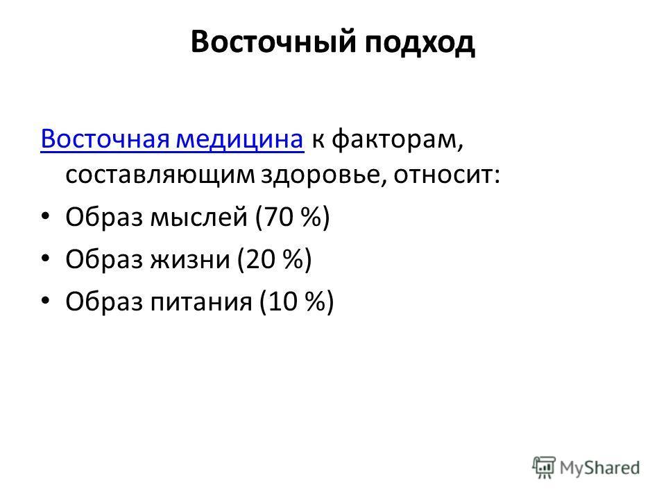 Восточный подход Восточная медицинаВосточная медицина к факторам, составляющим здоровье, относит: Образ мыслей (70 %) Образ жизни (20 %) Образ питания (10 %)