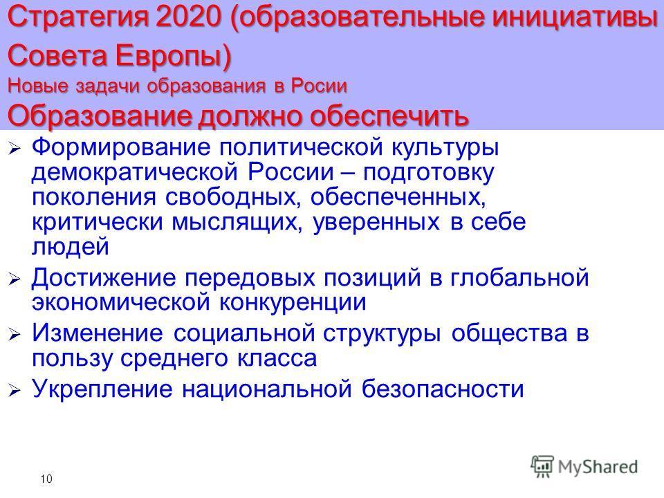 10 Стратегия 2020 (образовательные инициативы Совета Европы) Новые задачи образования в Росии Образование должно обеспечить Формирование политической культуры демократической России – подготовку поколения свободных, обеспеченных, критически мыслящих,