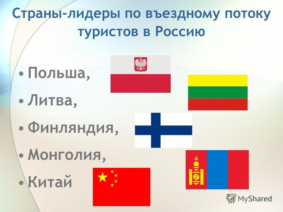 Страны-лидеры по въездному потоку туристов в Россию Польша, Литва, Финляндия, Монголия, Китай