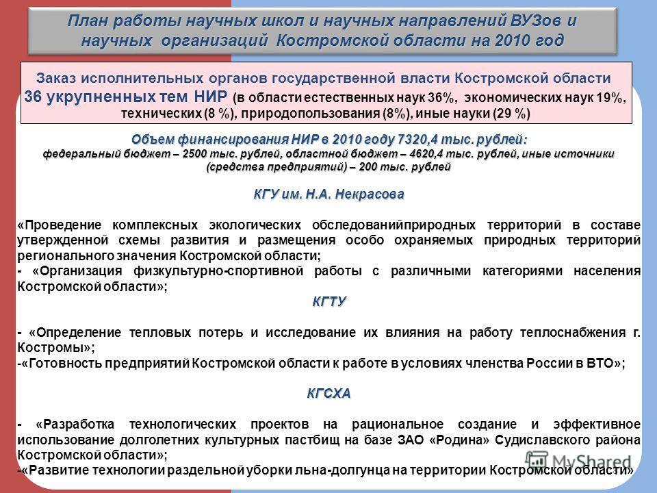 План работы научных школ и научных направлений ВУЗов и научных организаций Костромской области на 2010 год 8 Заказ исполнительных органов государственной власти Костромской области 36 укрупненных тем НИР (в области естественных наук 36%, экономически