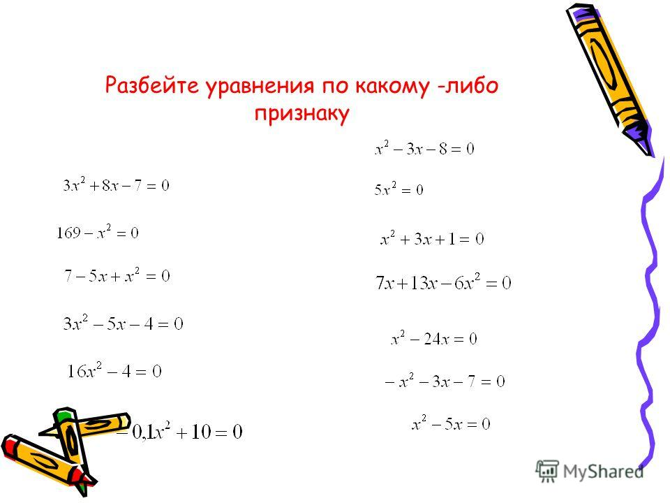 а,в, с некоторые числа х - переменная Приведенное квадратное уравнение а = 1 Квадратное уравнение Не приведенное квадратное уравнение Полное квадратное уравнение Не полное квадратное уравнение в = 0 или с = 0