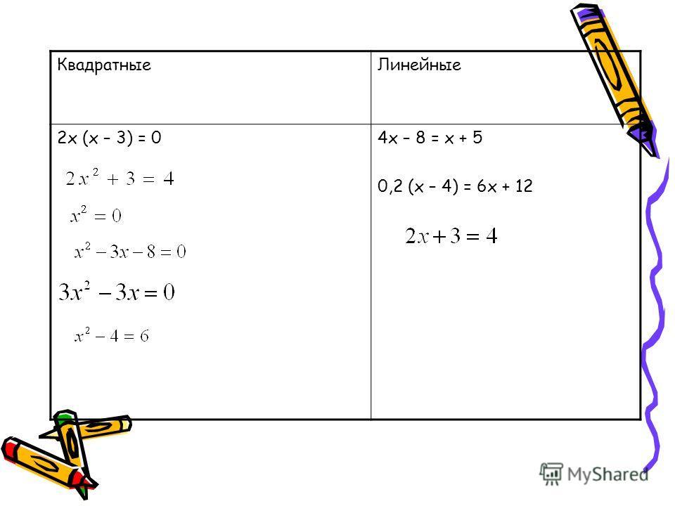 Разбейте уравнения на 2 группы 2х (х – 3) = 0 0,2 (х – 4) = 6х + 12 4х – 8 = х + 5