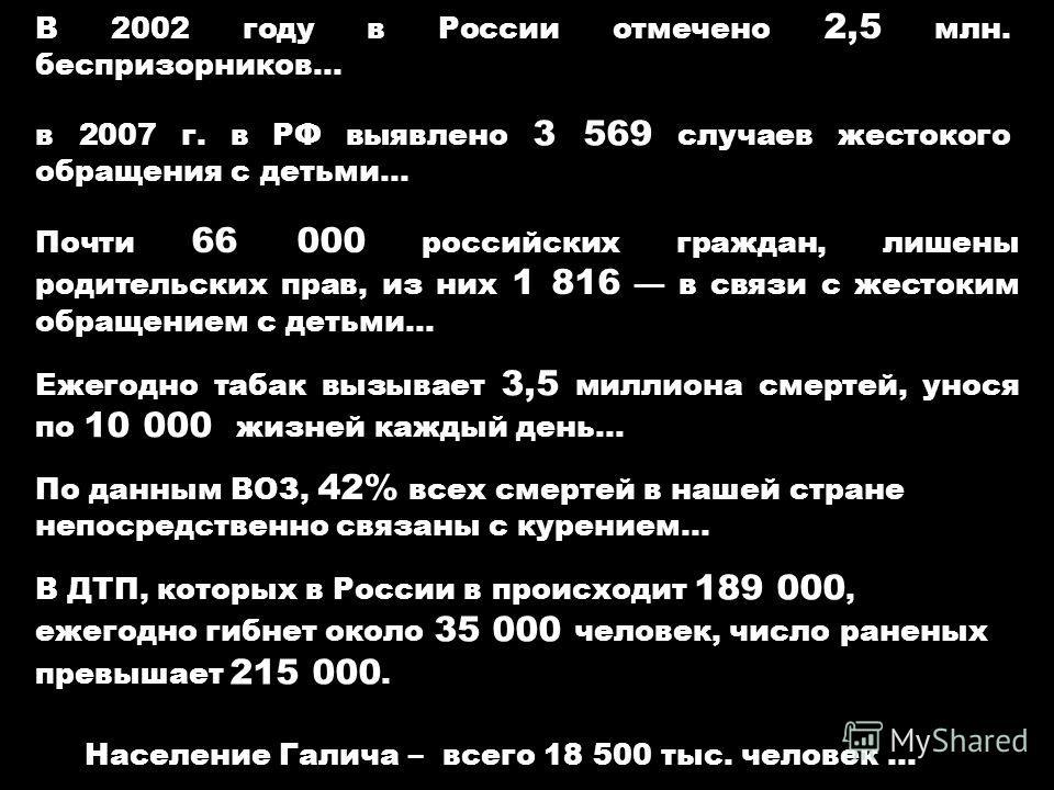 Ежегодно табак вызывает 3,5 миллиона смертей, унося по 10 000 жизней каждый день… В 2002 году в России отмечено 2,5 млн. беспризорников… По данным ВОЗ, 42% всех смертей в нашей стране непосредственно связаны с курением… в 2007 г. в РФ выявлено 3 569
