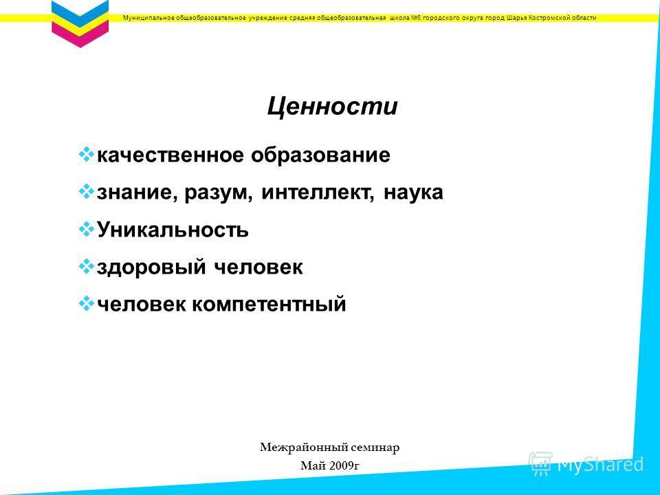 Муниципальное общеобразовательное учреждение средняя общеобразовательная школа 6 городского округа город Шарья Костромской области Ценности качественное образование знание, разум, интеллект, наука Уникальность здоровый человек человек компетентный Ме