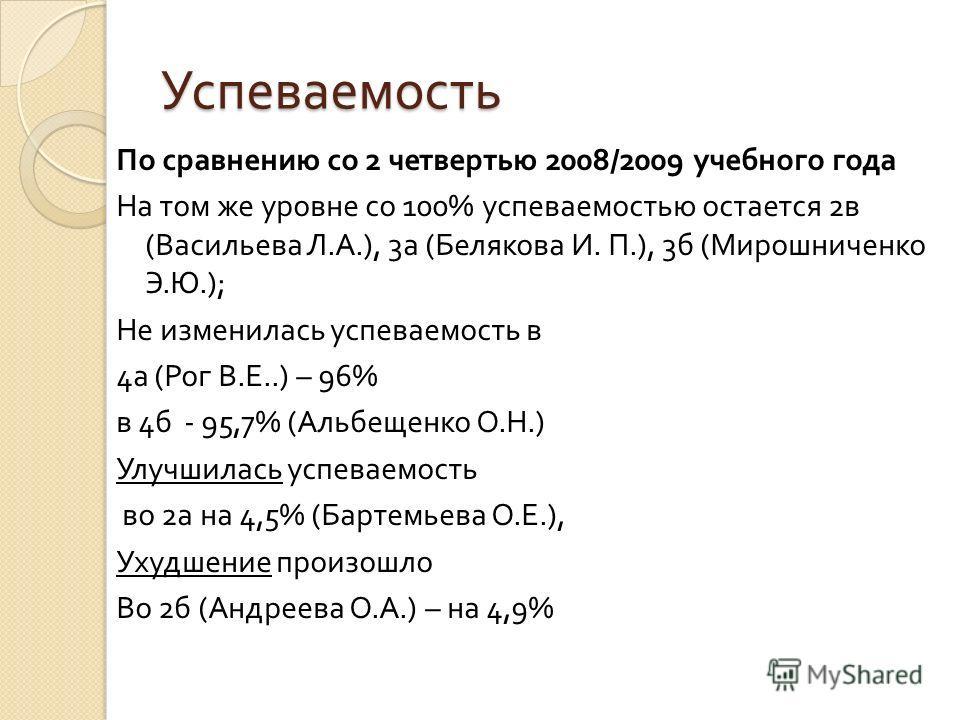 Успеваемость По сравнению со 2 четвертью 2008/2009 учебного года На том же уровне со 100% успеваемостью остается 2 в ( Васильева Л. А.), 3 а ( Белякова И. П.), 3 б ( Мирошниченко Э. Ю.); Не изменилась успеваемость в 4 а ( Рог В. Е..) – 96% в 4 б - 95