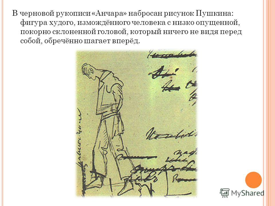 В черновой рукописи «Анчара» набросан рисунок Пушкина: фигура худого, измождённого человека с низко опущенной, покорно склоненной головой, который ничего не видя перед собой, обречённо шагает вперёд.
