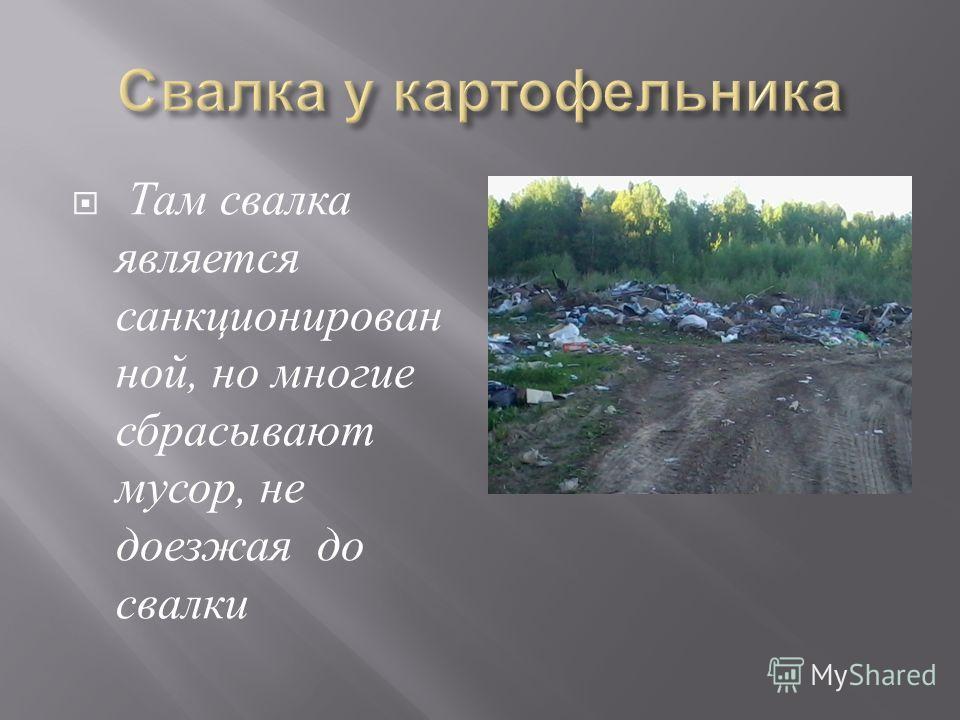 Там свалка является санкционирован ной, но многие сбрасывают мусор, не доезжая до свалки
