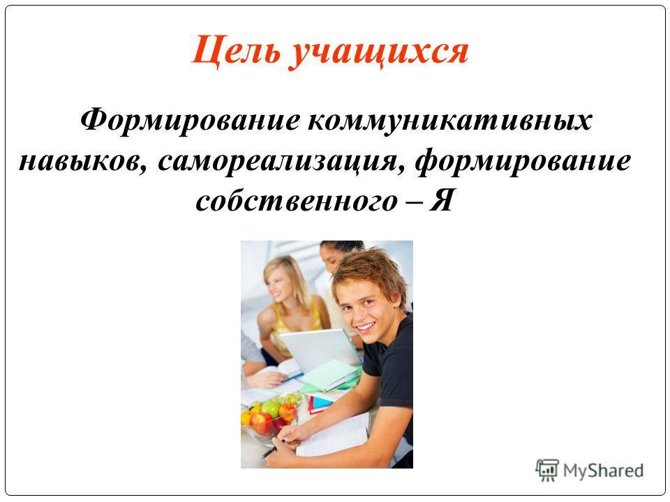 Цель учащихся Формирование коммуникативных навыков, самореализация, формирование собственного – Я