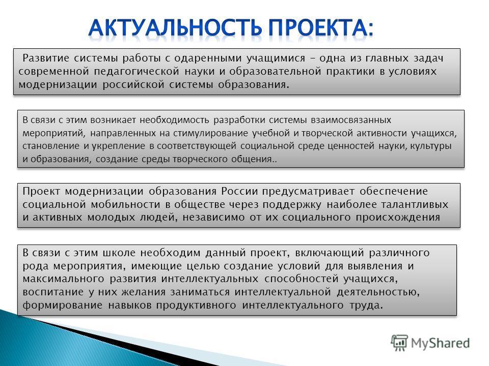 Развитие системы работы с одаренными учащимися - одна из главных задач современной педагогической науки и образовательной практики в условиях модернизации российской системы образования. В связи с этим возникает необходимость разработки системы взаим