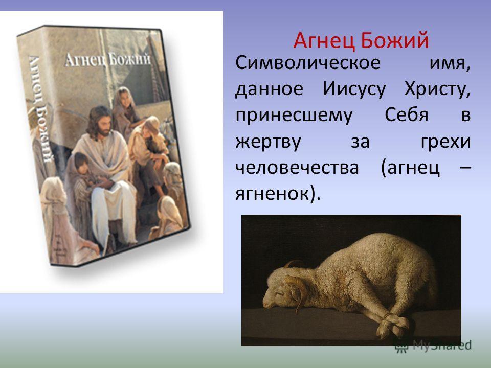 Агнец Божий Символическое имя, данное Иисусу Христу, принесшему Себя в жертву за грехи человечества (агнец – ягненок).