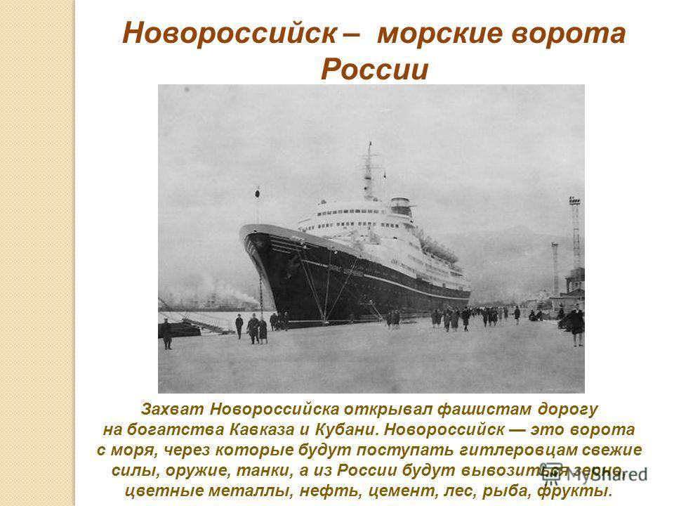 Захват Новороссийска открывал фашистам дорогу на богатства Кавказа и Кубани. Новороссийск это ворота с моря, через которые будут поступать гитлеровцам свежие силы, оружие, танки, а из России будут вывозиться зерно, цветные металлы, нефть, цемент, лес