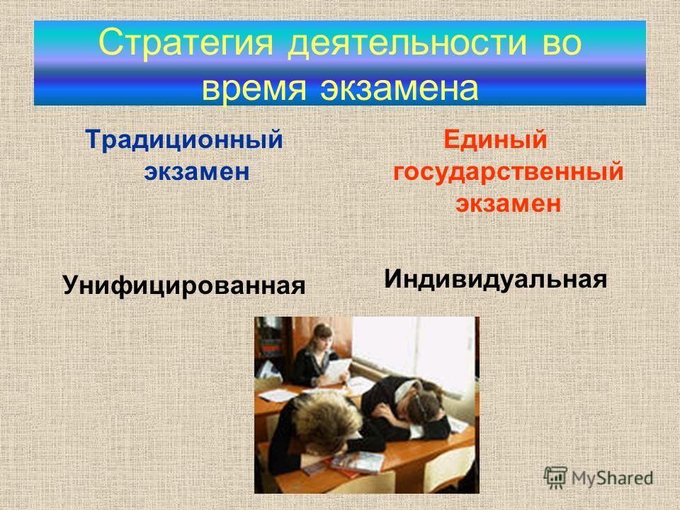 Стратегия деятельности во время экзамена Традиционный экзамен Унифицированная Единый государственный экзамен Индивидуальная